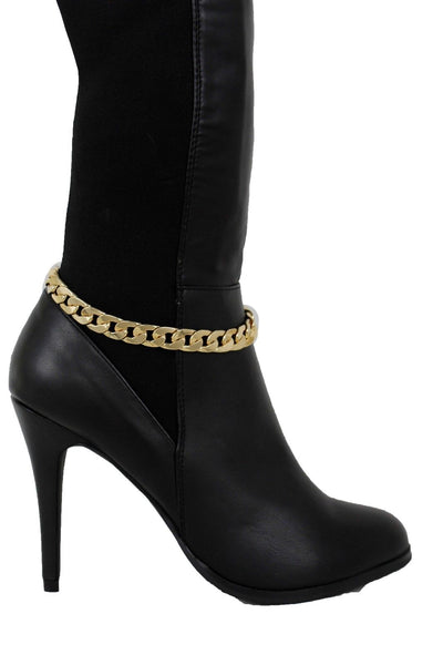 Women Gold Metal Classic Boot Bracelet Chain Anklet Shoe Charm Narrow Band New Fashion Accessories