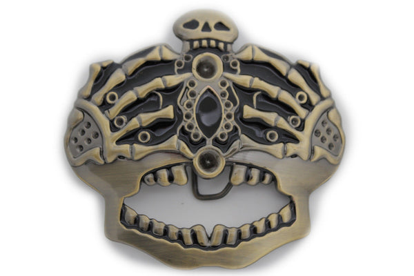 Dark Gold Metal Skull Skeleton Bones Pirate King Crown Belt Buckle Halloween Men Women Accessories