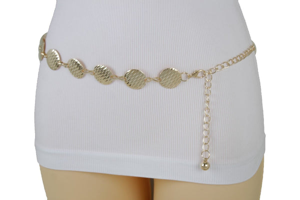Gold Metal Chain Women Belt Round Circle Charms Hip High Waist New Fashion Accessories S-L