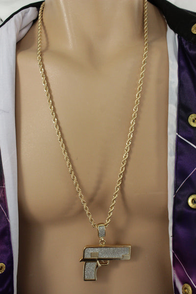Gold Silver Metal Chains Hip Hop Necklace Iced Out Gun Pendant Pistol New Men Fashion Accessories