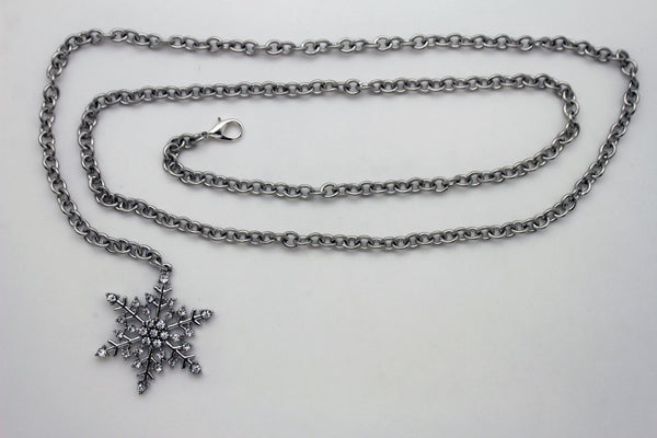 Silver Metal Chain Belt Christmas Winter Snow Flake Charm Hot Women Fashion Accessories XS-M & Plus Size M-XL - alwaystyle4you - 3
