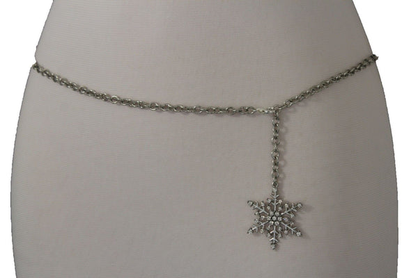 Silver Metal Chain Belt Christmas Winter Snow Flake Charm Hot Women Fashion Accessories XS-M & Plus Size M-XL - alwaystyle4you - 7