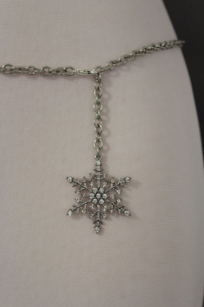 Silver Metal Chain Belt Christmas Winter Snow Flake Charm Hot Women Fashion Accessories XS-M & Plus Size M-XL - alwaystyle4you - 10