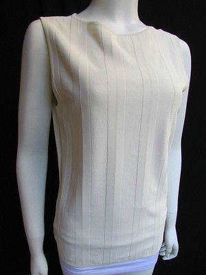 Brand New Valentino Women Top Basic Cream - Off White Classic Boat Neck Sleevless Knit Shirt Size: Large - alwaystyle4you - 11