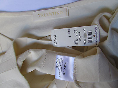 Brand New Valentino Women Top Basic Cream - Off White Classic Boat Neck Sleevless Knit Shirt Size: Large - alwaystyle4you - 6