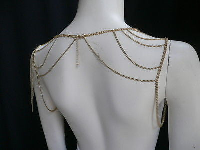 Women Gold Double Shoulders Body Chain Fashion Slim Stylish Design Cliche - alwaystyle4you - 3