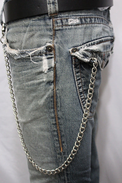 Silver Long Wallet Metal Chain Link KeyChain Classic Chunky Basic Jean Motorcycle Biker Rocker New Men Style - alwaystyle4you - 9