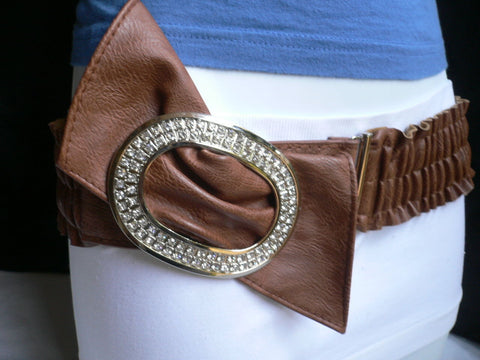 Brown / Red Faux Leather Elastic Bend Hip Belt Big Bow Multi Rhinestones Oval Buckle New Women Fashion Accessories Size XS S M - alwaystyle4you - 1