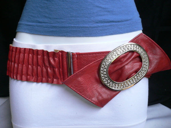 Brown / Red Faux Leather Elastic Bend Hip Belt Big Bow Multi Rhinestones Oval Buckle New Women Fashion Accessories Size XS S M - alwaystyle4you - 13