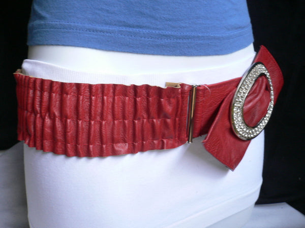 Brown / Red Faux Leather Elastic Bend Hip Belt Big Bow Multi Rhinestones Oval Buckle New Women Fashion Accessories Size XS S M - alwaystyle4you - 14