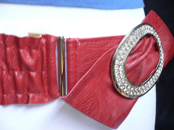 Brown / Red Faux Leather Elastic Bend Hip Belt Big Bow Multi Rhinestones Oval Buckle New Women Fashion Accessories Size XS S M - alwaystyle4you - 16