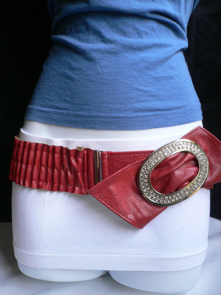 Brown / Red Faux Leather Elastic Bend Hip Belt Big Bow Multi Rhinestones Oval Buckle New Women Fashion Accessories Size XS S M - alwaystyle4you - 3