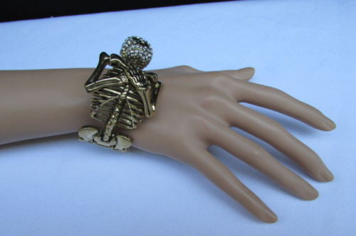 Gold Skeleton Cuff Bracelet Body Bones Halloween Style Fashion Jewelry New Women Accessories - alwaystyle4you - 12
