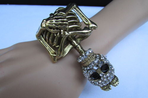 Gold Skeleton Cuff Bracelet Body Bones Halloween Style Fashion Jewelry New Women Accessories - alwaystyle4you - 13