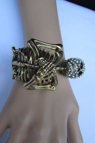 Gold Skeleton Cuff Bracelet Body Bones Halloween Style Fashion Jewelry New Women Accessories - alwaystyle4you - 6