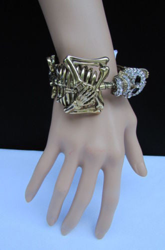 Gold Skeleton Cuff Bracelet Body Bones Halloween Style Fashion Jewelry New Women Accessories - alwaystyle4you - 7