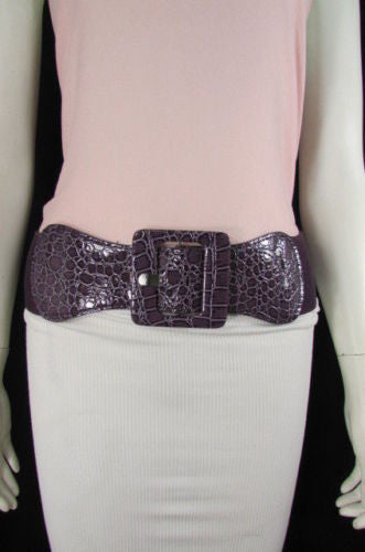 Beige Orange Black Brown Blue Light Blue White Red Purple Pink Gold Green Elastic Stretch Hip High Waist Belt Big Square Buckle New Women's Fashion Accessories XS S M L XL - alwaystyle4you - 70