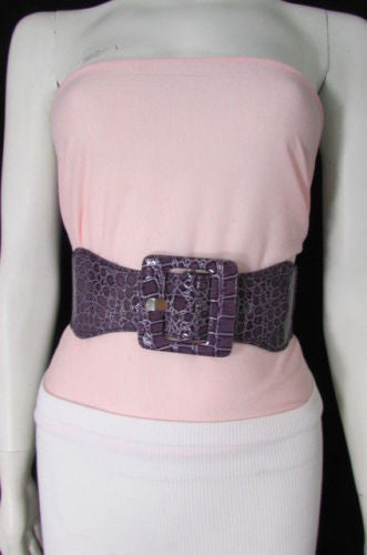 Beige Orange Black Brown Blue Light Blue White Red Purple Pink Gold Green Elastic Stretch Hip High Waist Belt Big Square Buckle New Women's Fashion Accessories XS S M L XL - alwaystyle4you - 114