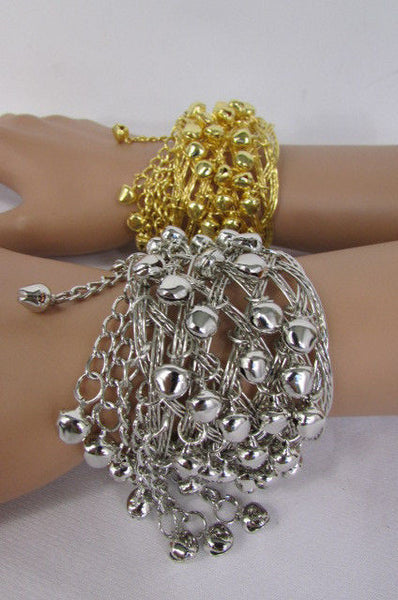 Silver Gold Metal Cuff Bracelet Chains Bells Dancing New Women Fashion Jewelry Accessories - alwaystyle4you - 19