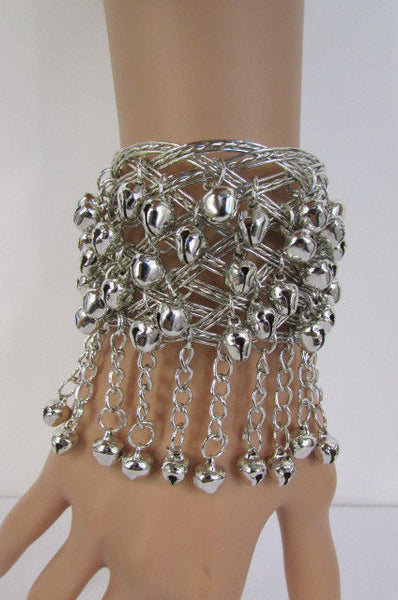 Silver Gold Metal Cuff Bracelet Chains Bells Dancing New Women Fashion Jewelry Accessories - alwaystyle4you - 3