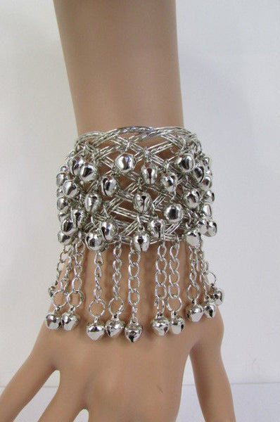 Silver Gold Metal Cuff Bracelet Chains Bells Dancing New Women Fashion Jewelry Accessories - alwaystyle4you - 31