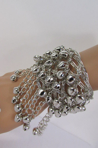 Silver Gold Metal Cuff Bracelet Chains Bells Dancing New Women Fashion Jewelry Accessories - alwaystyle4you - 35