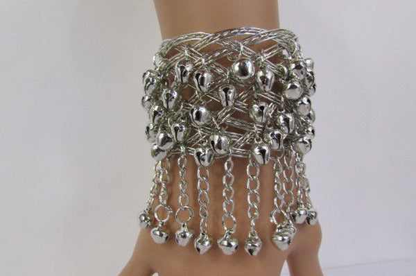 Silver Gold Metal Cuff Bracelet Chains Bells Dancing New Women Fashion Jewelry Accessories - alwaystyle4you - 2