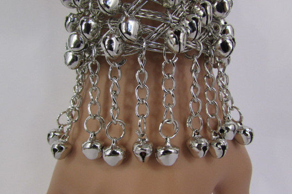 Silver Gold Metal Cuff Bracelet Chains Bells Dancing New Women Fashion Jewelry Accessories - alwaystyle4you - 5
