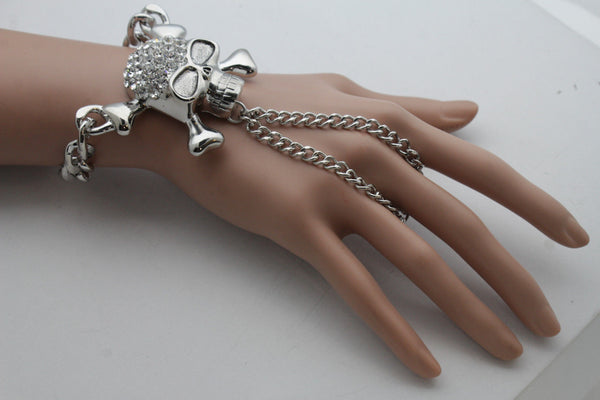 Silver Metal Hand Chain Wrist Bracelet Slave Ring Pirate Skeleton Skull New Women Accessories