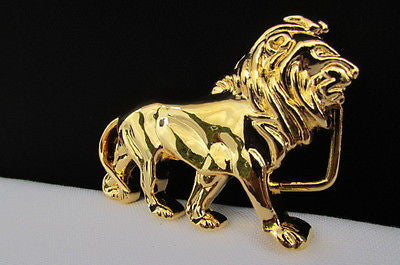 "New Women / Men Belt Buckle Fancy Shiny Gold Metal Fashion Buckle Big Lion Body 3""/2"" For Thin Narrow Belts - alwaystyle4you - 3"