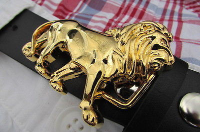 "New Women / Men Belt Buckle Fancy Shiny Gold Metal Fashion Buckle Big Lion Body 3""/2"" For Thin Narrow Belts - alwaystyle4you - 12"