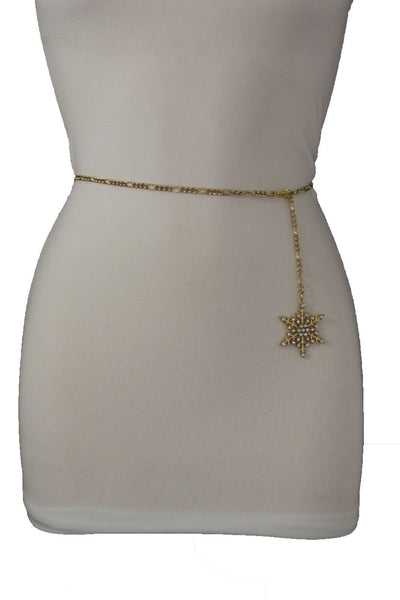 Silver Metal Chain Belt Christmas Winter Snow Flake Charm Hot Women Fashion Accessories XS-M & Plus Size M-XL - alwaystyle4you - 23