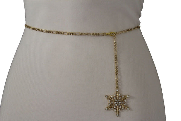 Silver Metal Chain Belt Christmas Winter Snow Flake Charm Hot Women Fashion Accessories XS-M & Plus Size M-XL - alwaystyle4you - 24