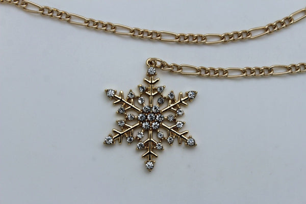 Silver Metal Chain Belt Christmas Winter Snow Flake Charm Hot Women Fashion Accessories XS-M & Plus Size M-XL - alwaystyle4you - 12