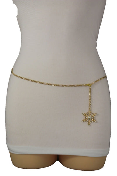 Silver Metal Chain Belt Christmas Winter Snow Flake Charm Hot Women Fashion Accessories XS-M & Plus Size M-XL - alwaystyle4you - 19