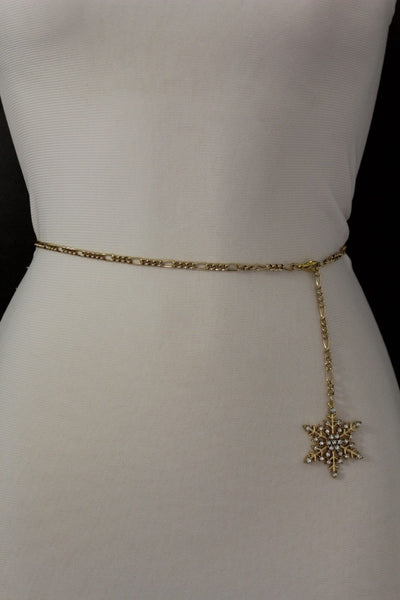Silver Metal Chain Belt Christmas Winter Snow Flake Charm Hot Women Fashion Accessories XS-M & Plus Size M-XL - alwaystyle4you - 22