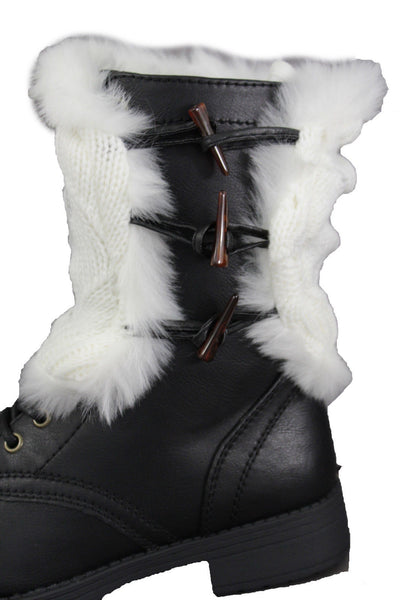 Beige White Black Red Faux Fur Fabric Slip On Pair Boots Cover Toppers Warmer Knit Accessories