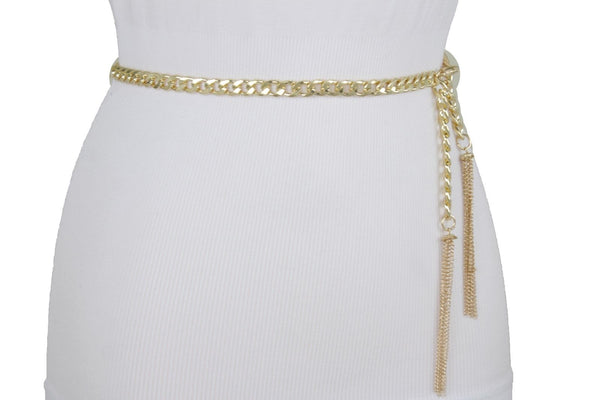 Women Gold Metal Chain Skinny Belt Red Brown Beads Tassel Fringes Fashion Accessories Plus Size M-XL