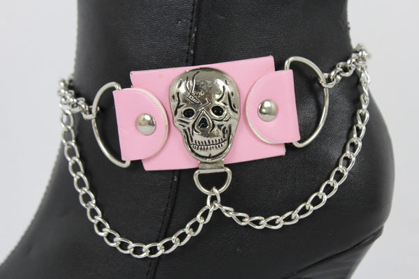Women Silver Boot Chain Anklet Bracelet Shoe Pink Faux Leather Fabric Skull Charm Halloween Style