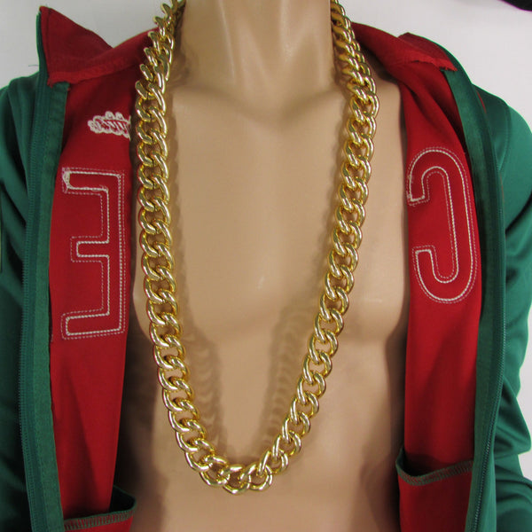 Gold Hip Hop Metal Thick Chains Extra Long Necklace New Men Women Chunky Gangster Fashion - alwaystyle4you - 1