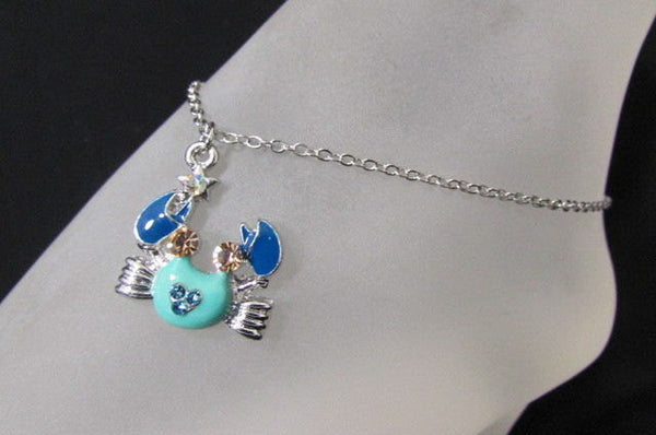 Silver Metal Thin Chains Casual Fashion Anklet Foot Big Blue Sea Ocean Crab Charm New Women Accessories