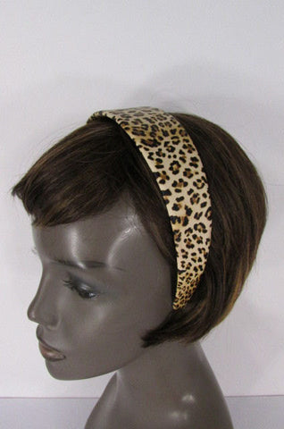 Brand New Women Animal Print Leopard Chic Head Band Trendy Fashion Jewelry Wide Beige Brown - alwaystyle4you - 1