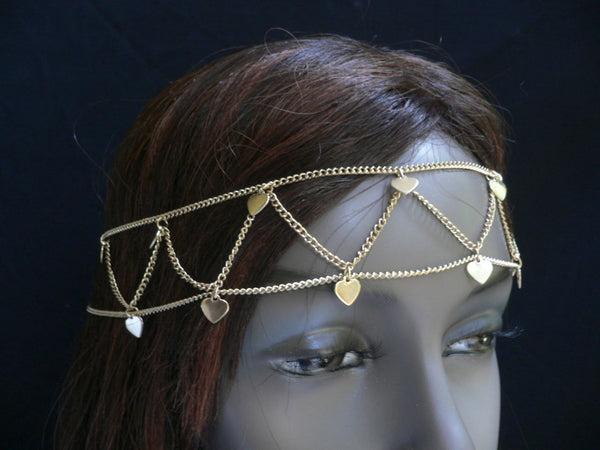 Gold Metal Head Band Chain Multi Hearts New Women Fashion Jewelry Hair Casual Accessories