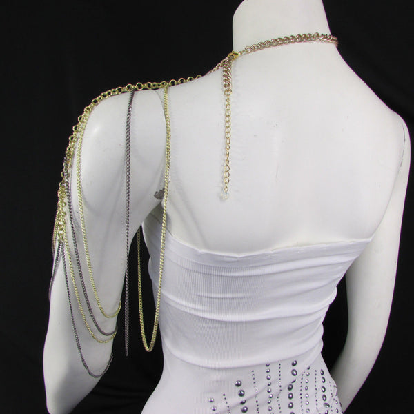 Brand New Women Trendy One Side Body Chain Gold Metal Black Pewter Mesh Chain Necklace Fashion Shoulder Drapes Lady Gaga Women Accessories - alwaystyle4you - 6