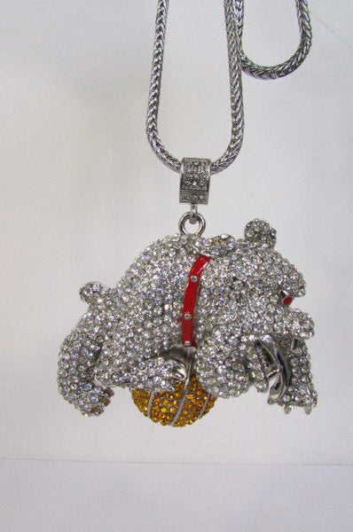 Gold / Silver Metal Chains Long Necklace Large Bulldog Ball New Men Style Fashion - alwaystyle4you - 19
