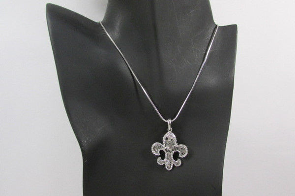 Silver Metal Fleur De Lis Lily Flower Bull Colorfull Rhinestones/ Silver Necklace New Women Fashion - alwaystyle4you - 14