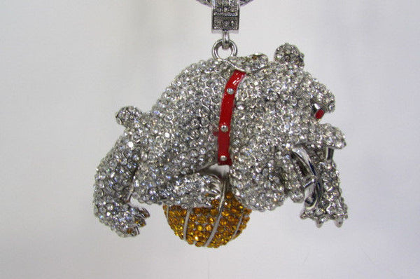 Gold / Silver Metal Chains Long Necklace Large Bulldog Ball New Men Style Fashion - alwaystyle4you - 21