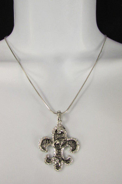 Silver Metal Fleur De Lis Lily Flower Bull Colorfull Rhinestones/ Silver Necklace New Women Fashion - alwaystyle4you - 15