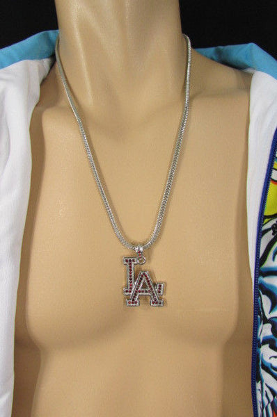 "Gold Silver Pewter Metal Chains 25"" Long Necklace Pewter Big LA Pendant New Men Fashion - alwaystyle4you - 30"