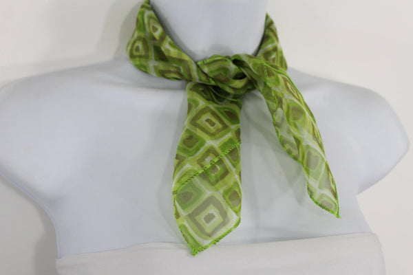 Green Blue Small Neck Scarf Fabric Geometric Square Print Pocket Square New Women Fashion - alwaystyle4you - 18